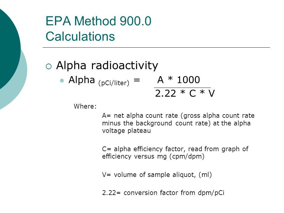 EPA Method 900.0 Calculations