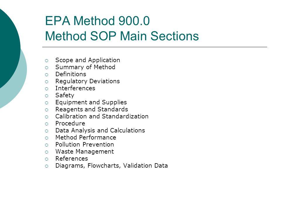 EPA Method 900.0 Method SOP Main Sections