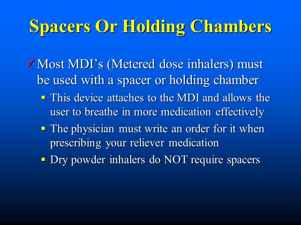 Spacers Or Holding Chambers