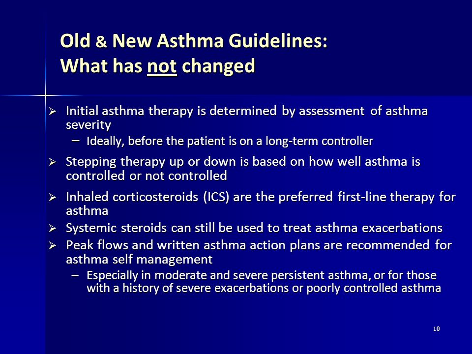 Old & New Asthma Guidelines: What has not changed