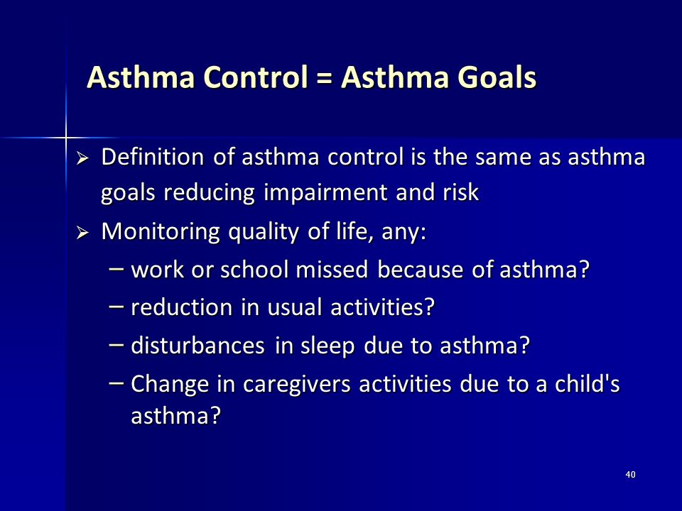 Asthma Control = Asthma Goals