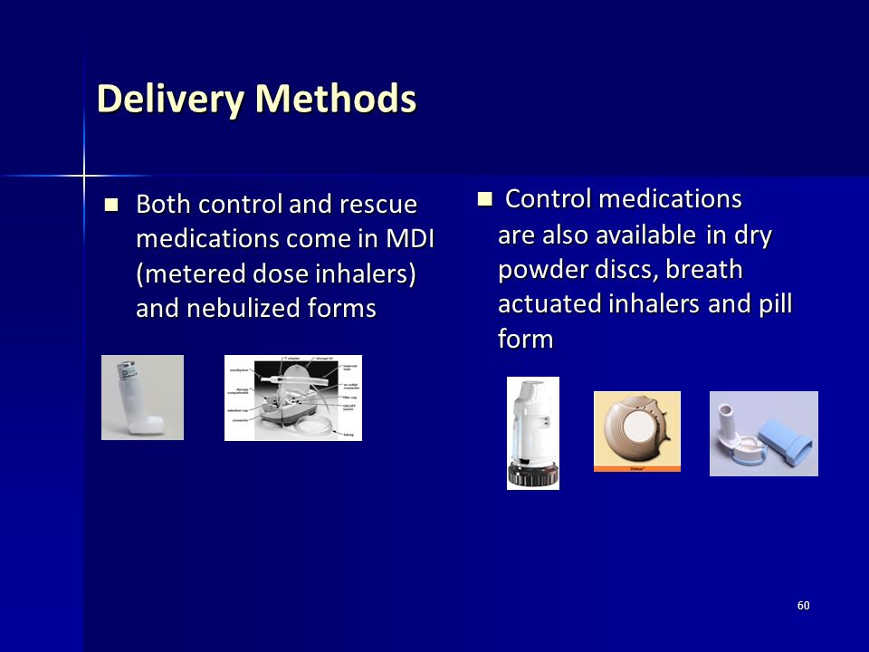 Delivery Methods Control medications are also available in dry powder discs, breath actuated inhalers and pill form.