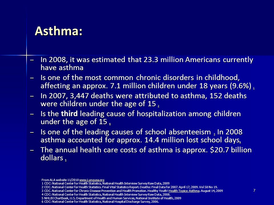 Asthma: In 2008, it was estimated that 23.3 million Americans currently have asthma.