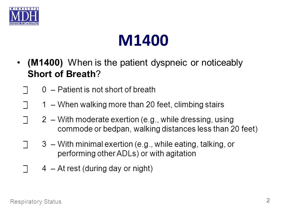 M1400 (M1400) When is the patient dyspneic or noticeably Short of Breath ⃞ 0 – Patient is not short of breath.
