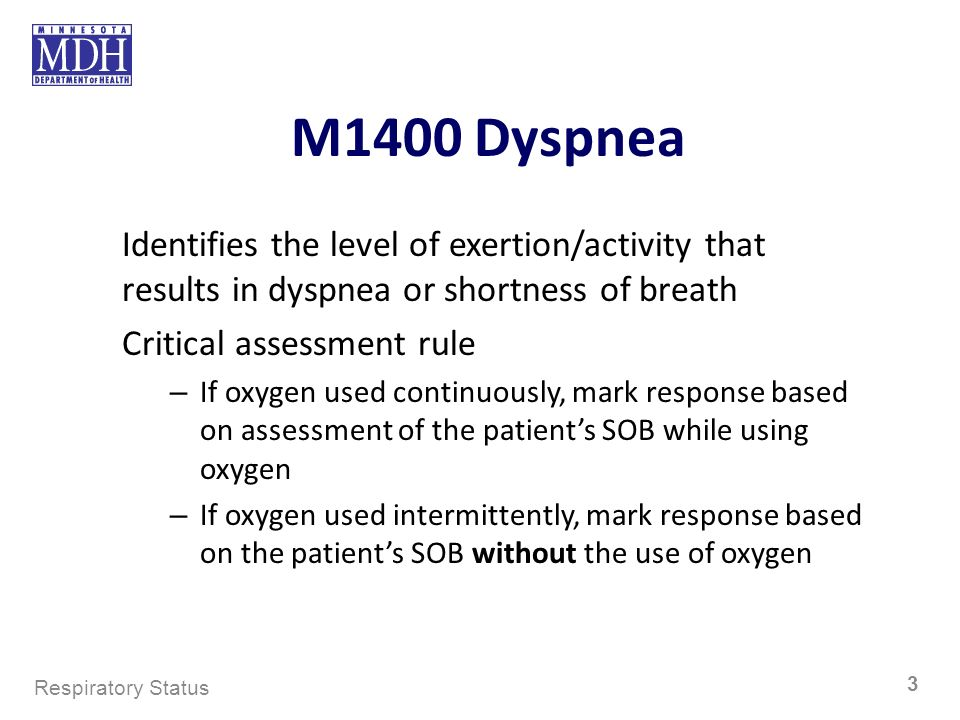 M1400 Dyspnea Identifies the level of exertion/activity that results in dyspnea or shortness of breath.