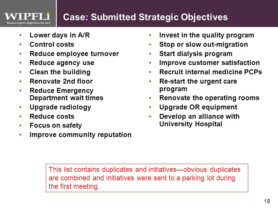 Case: Submitted Strategic Objectives