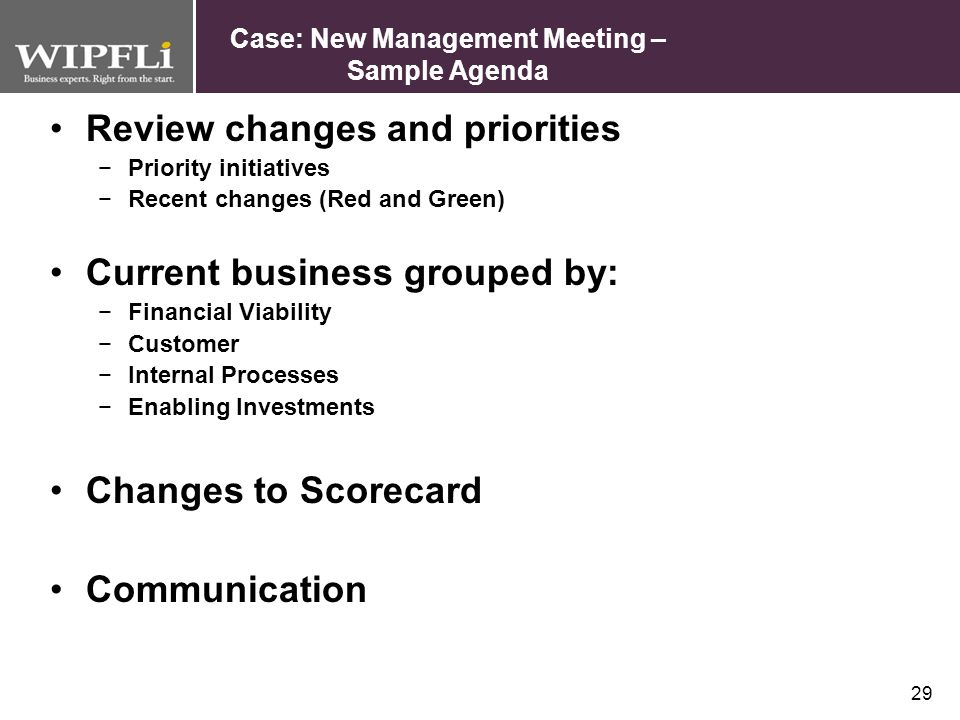 Case: New Management Meeting – Sample Agenda