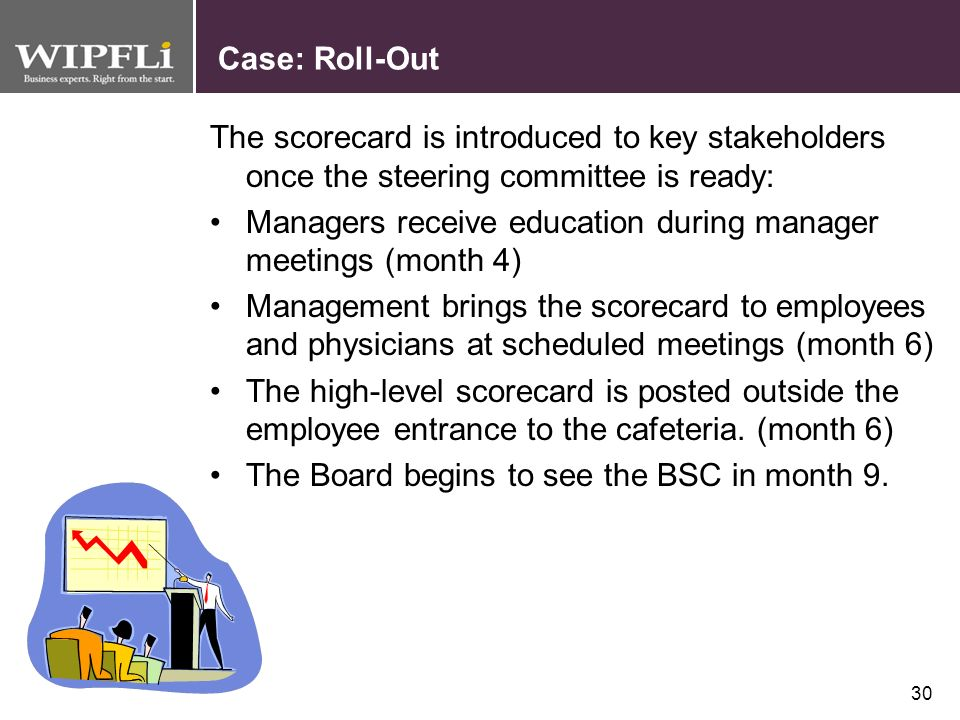 Case: Roll-Out The scorecard is introduced to key stakeholders once the steering committee is ready: