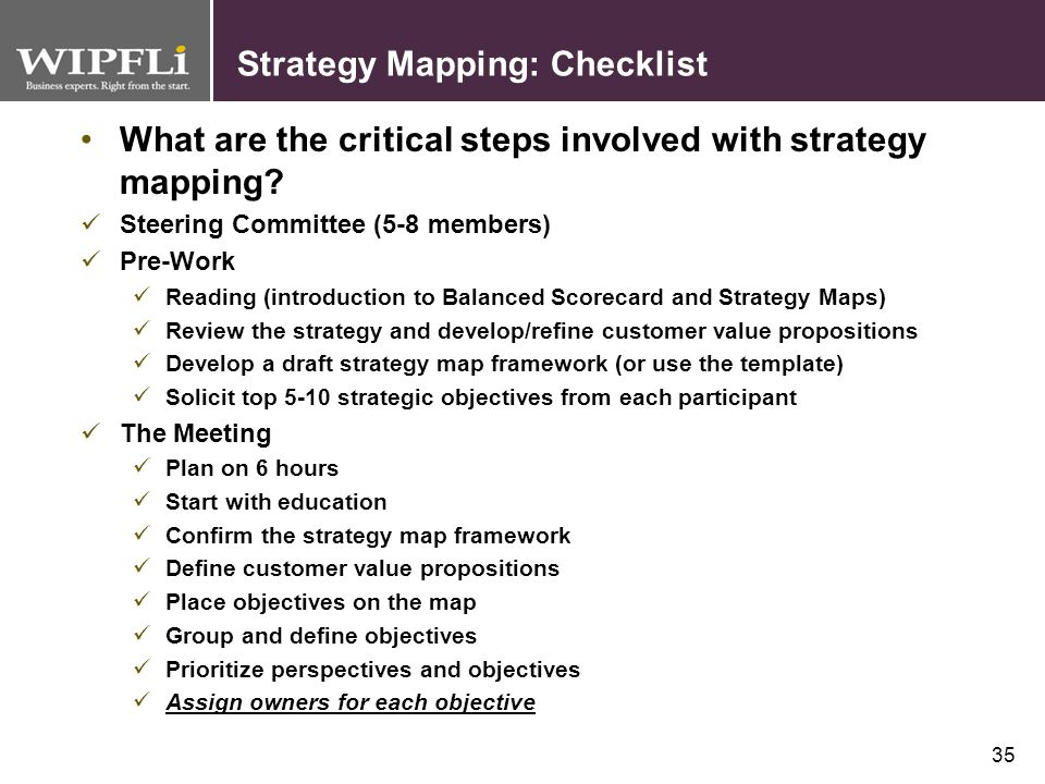 Strategy Mapping: Checklist