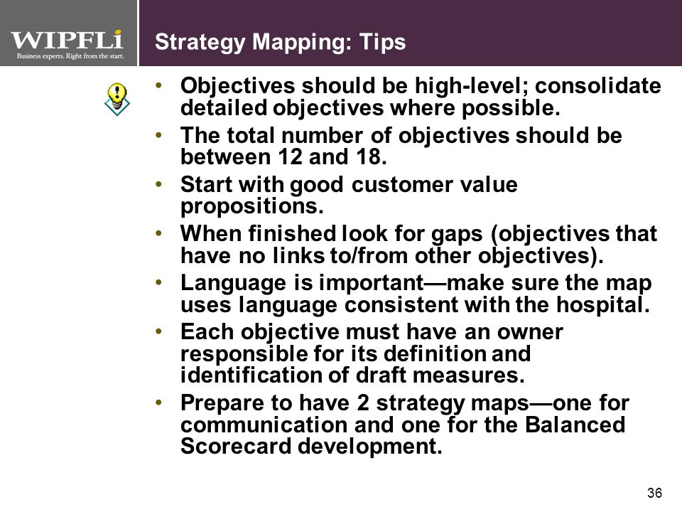 Strategy Mapping: Tips