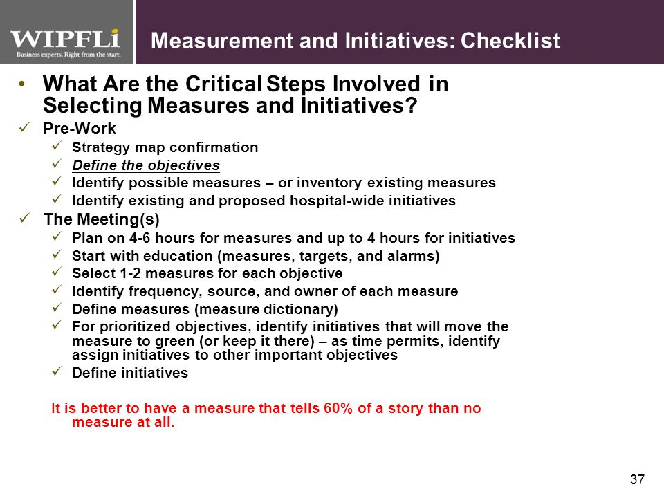 Measurement and Initiatives: Checklist