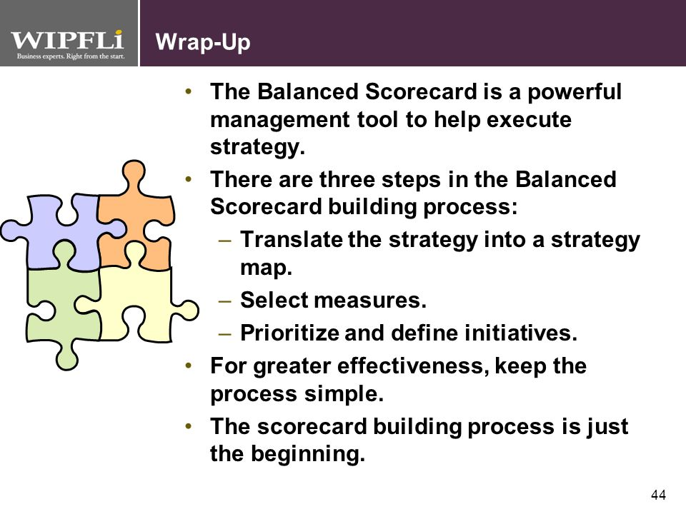Wrap-Up The Balanced Scorecard is a powerful management tool to help execute strategy.