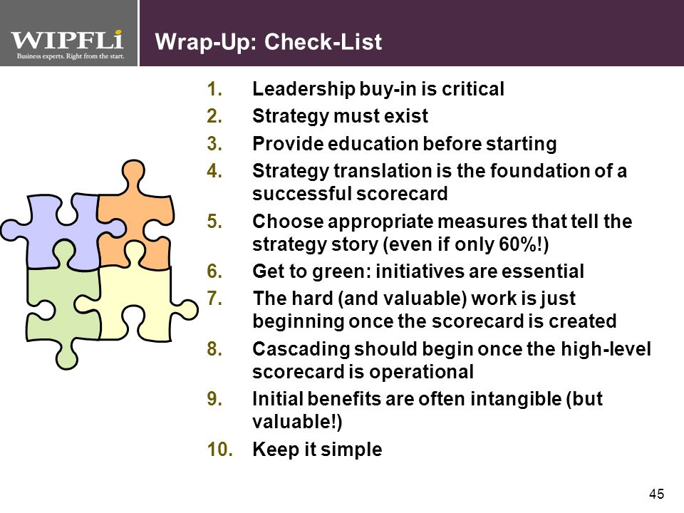 Wrap-Up: Check-List Leadership buy-in is critical Strategy must exist