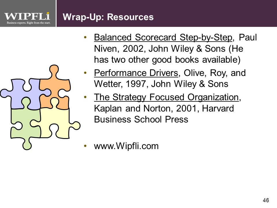 Wrap-Up: Resources Balanced Scorecard Step-by-Step, Paul Niven, 2002, John Wiley & Sons (He has two other good books available)