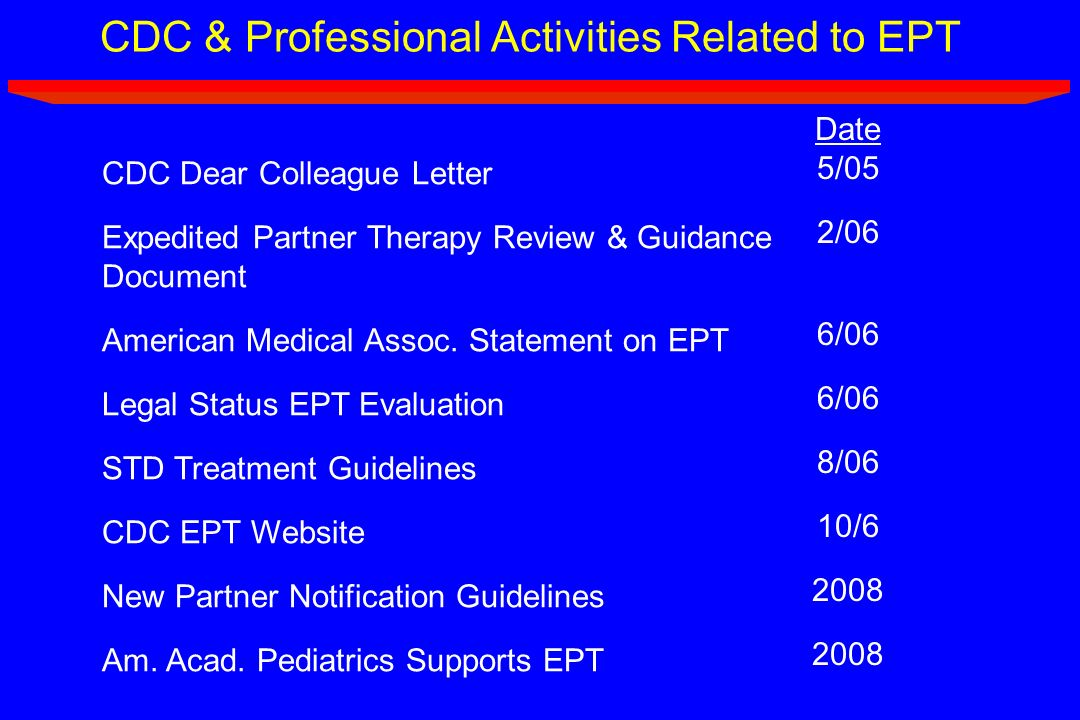 CDC & Professional Activities Related to EPT