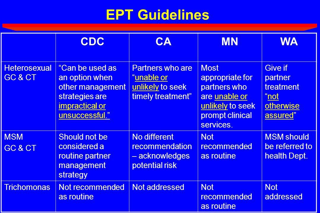 EPT Guidelines CDC CA MN WA Heterosexual GC & CT