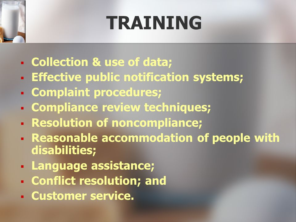 TRAINING Collection & use of data;