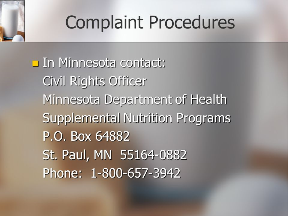 Complaint Procedures In Minnesota contact: Civil Rights Officer