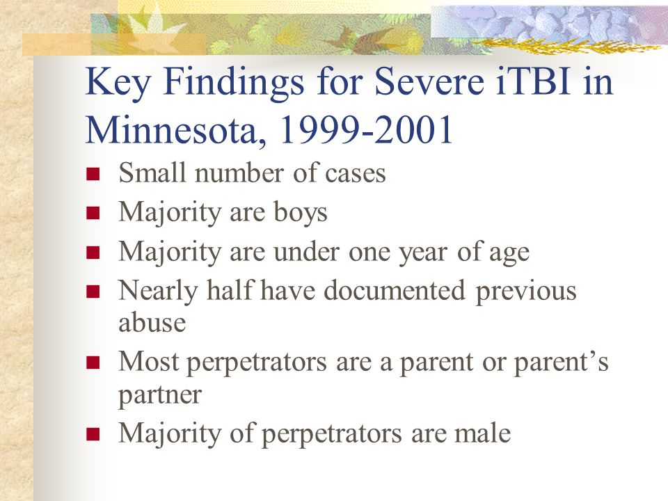 Key Findings for Severe iTBI in Minnesota, 1999-2001
