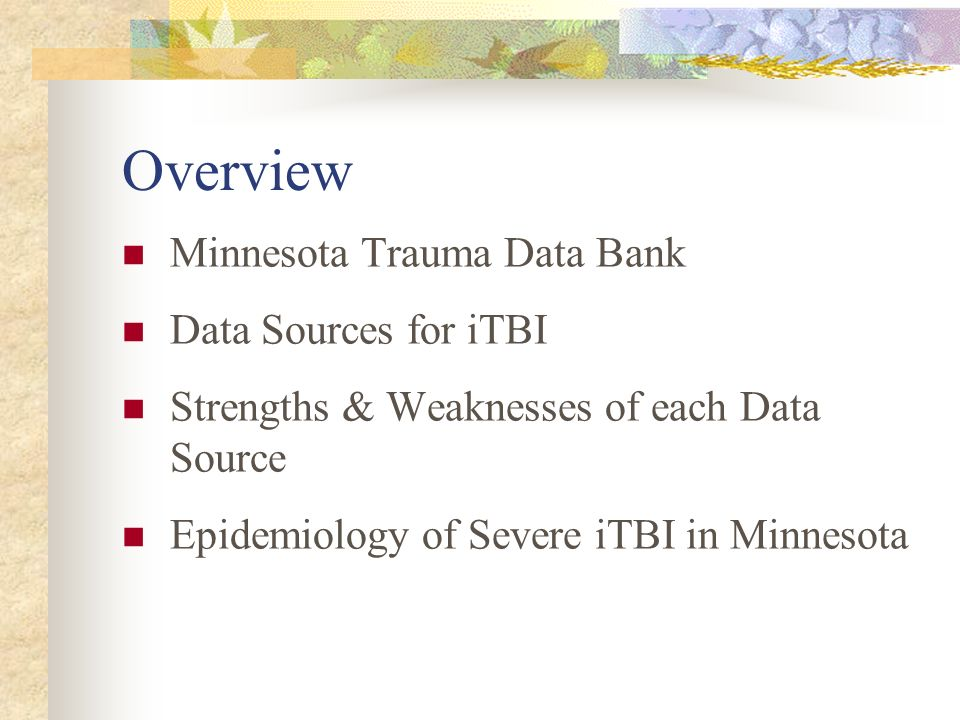 Overview Minnesota Trauma Data Bank Data Sources for iTBI