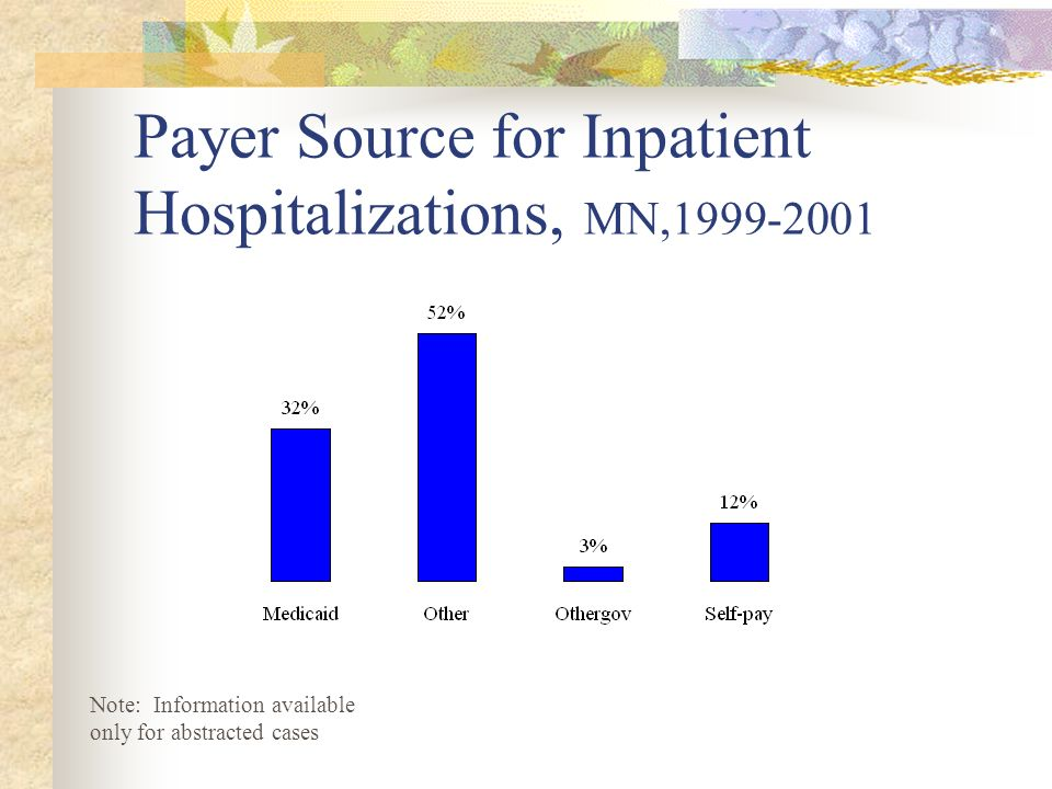 Payer Source for Inpatient Hospitalizations, MN,1999-2001