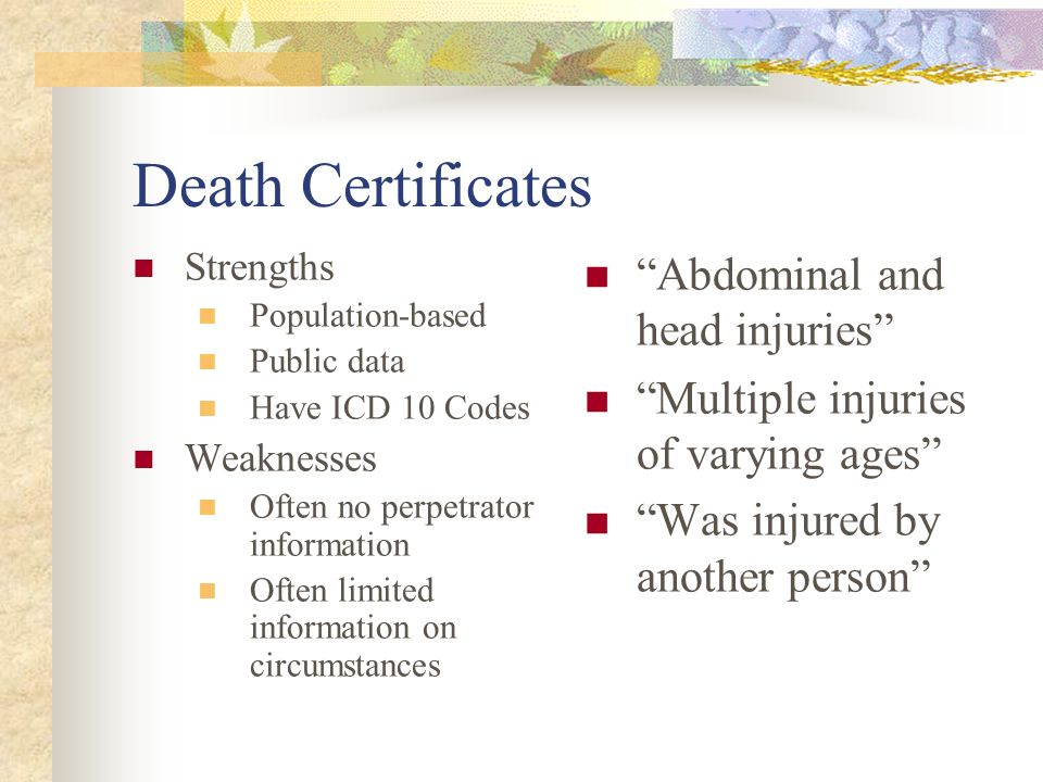 Death Certificates Abdominal and head injuries
