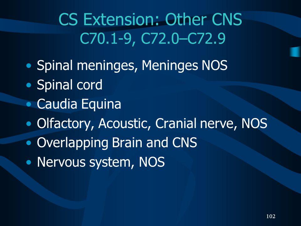 CS Extension: Other CNS C70.1-9, C72.0–C72.9