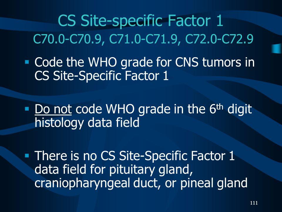 CS Site-specific Factor 1 C70.0-C70.9, C71.0-C71.9, C72.0-C72.9