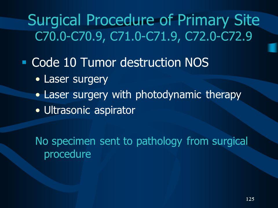 Surgical Procedure of Primary Site C70. 0-C70. 9, C71. 0-C71. 9, C72