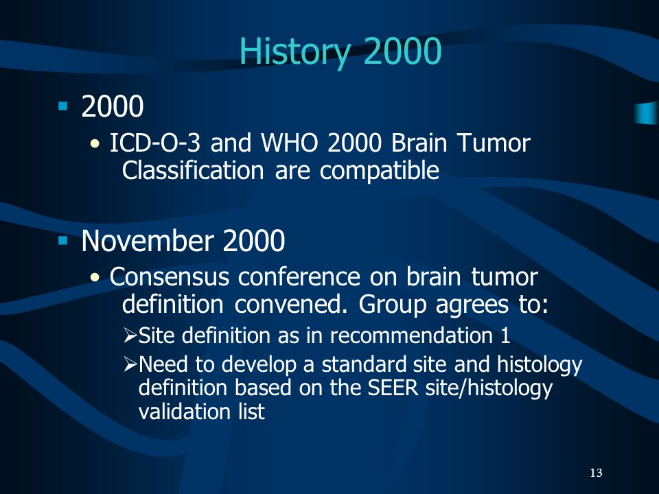 History 2000 2000. ICD-O-3 and WHO 2000 Brain Tumor Classification are compatible. November 2000.