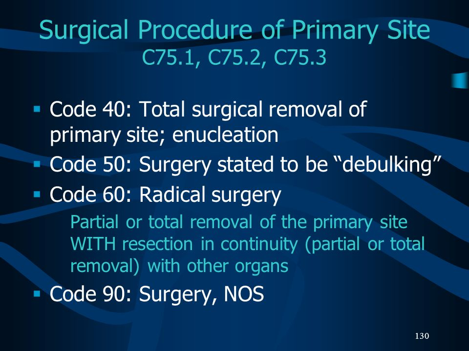 Surgical Procedure of Primary Site C75.1, C75.2, C75.3