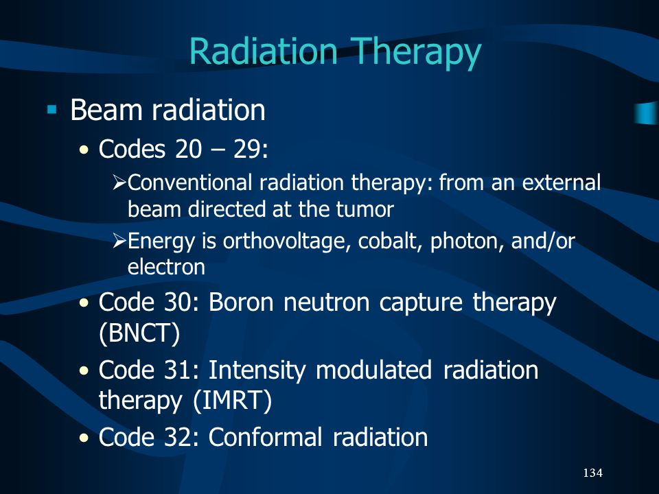 Radiation Therapy Beam radiation Codes 20 – 29: