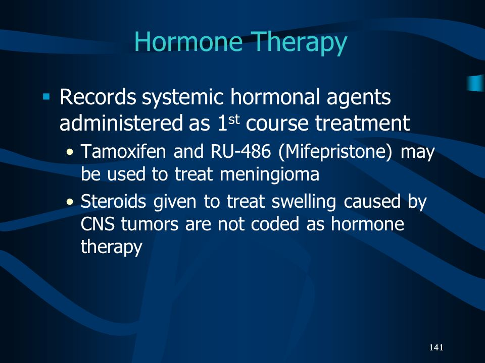 Hormone Therapy Records systemic hormonal agents administered as 1st course treatment.