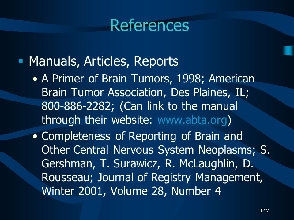 References Manuals, Articles, Reports