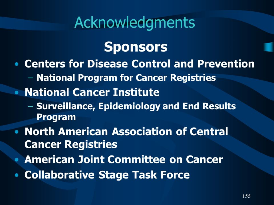 Acknowledgments Sponsors Centers for Disease Control and Prevention