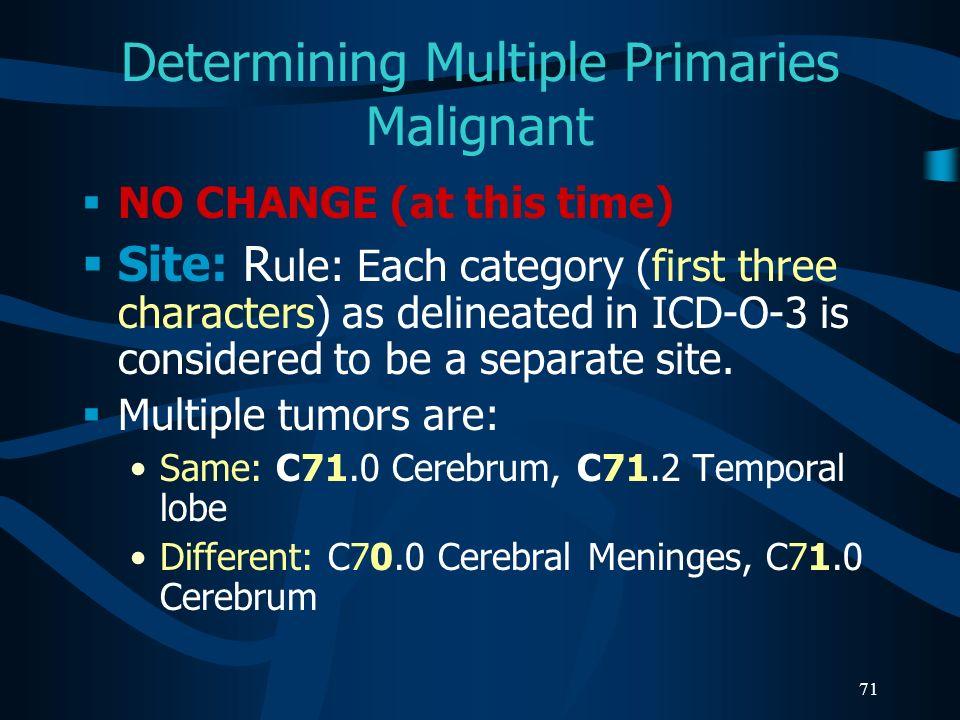 Determining Multiple Primaries Malignant