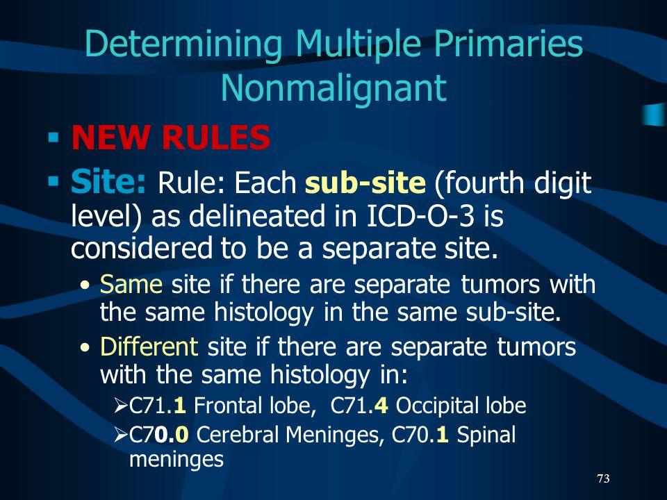 Determining Multiple Primaries Nonmalignant