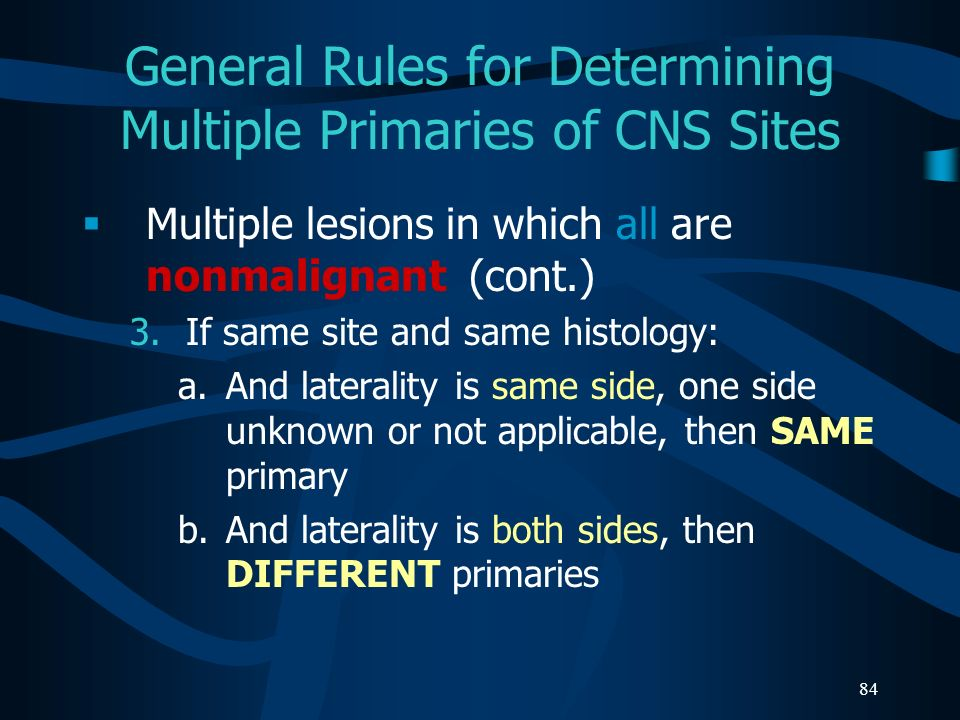 General Rules for Determining Multiple Primaries of CNS Sites