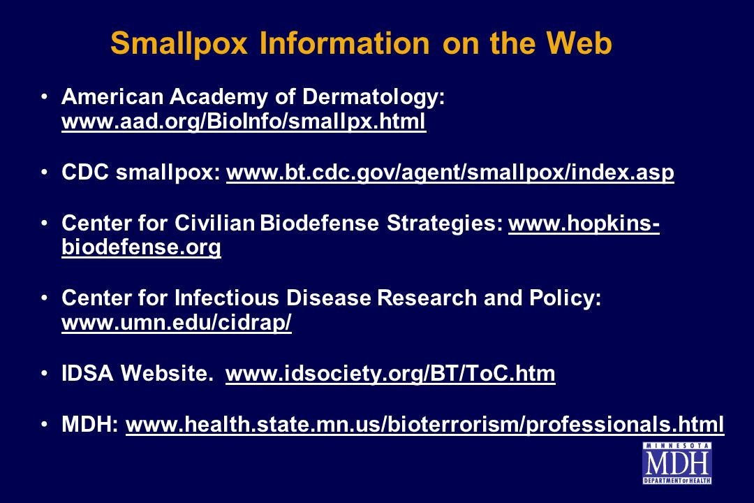 Smallpox Information on the Web