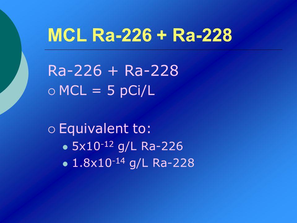 MCL Ra-226 + Ra-228 Ra-226 + Ra-228 MCL = 5 pCi/L Equivalent to: