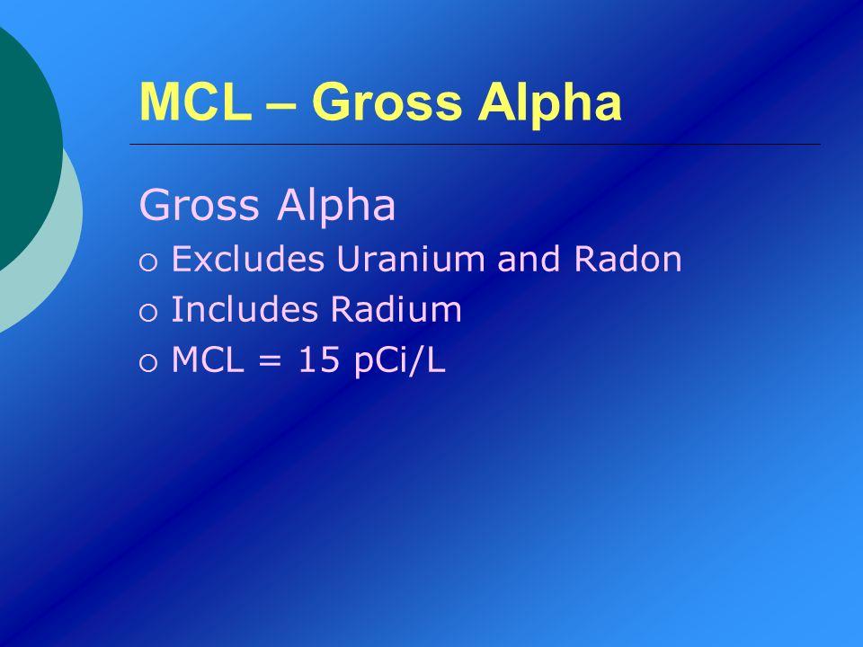 MCL – Gross Alpha Gross Alpha Excludes Uranium and Radon