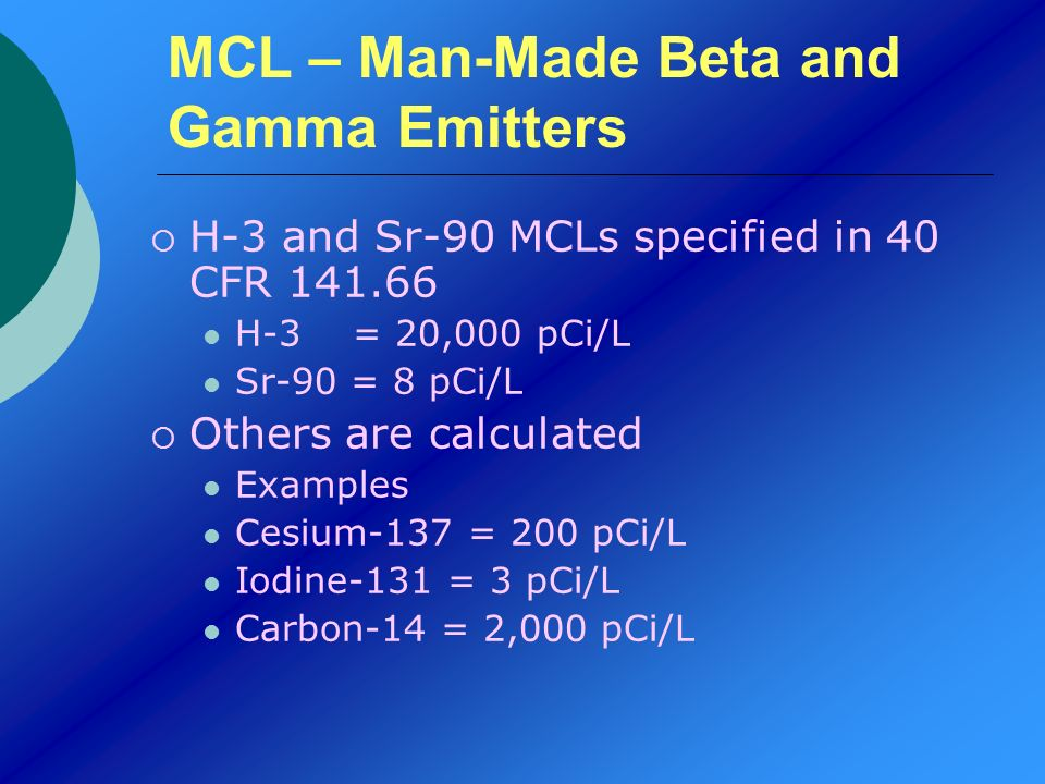 MCL – Man-Made Beta and Gamma Emitters