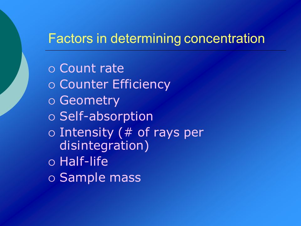 Factors in determining concentration