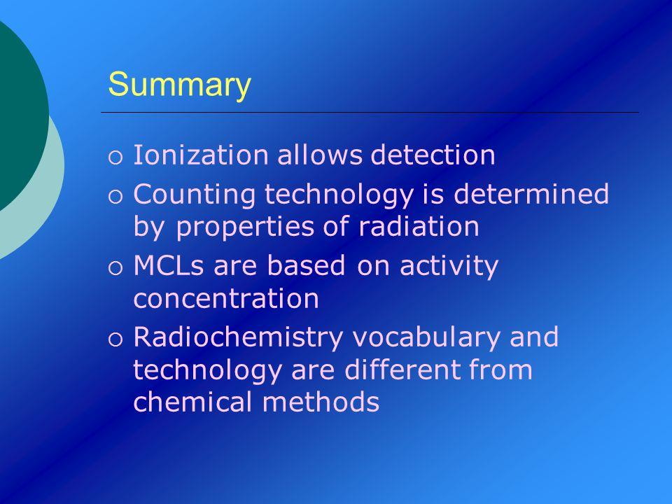 Summary Ionization allows detection