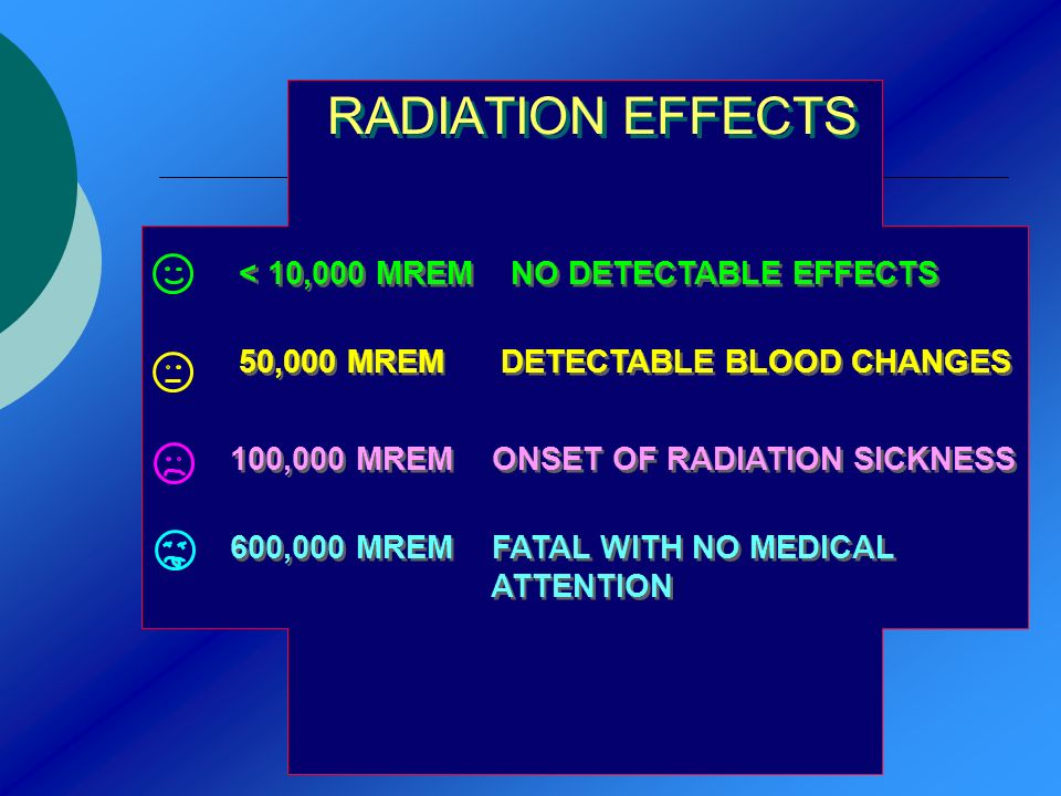 RADIATION EFFECTS < 10,000 MREM NO DETECTABLE EFFECTS