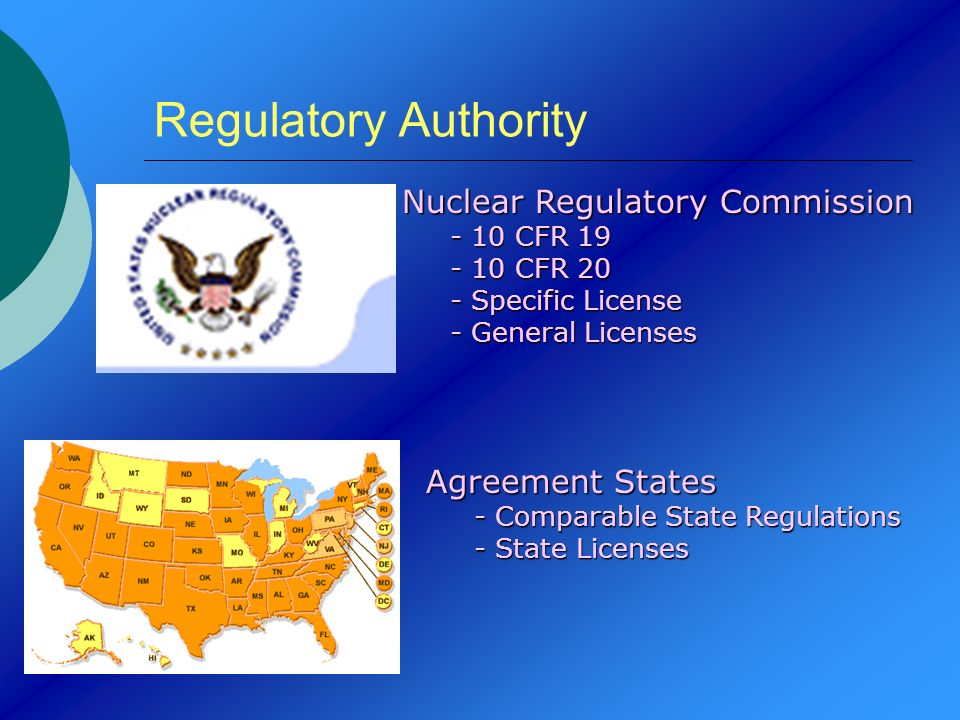 Regulatory Authority Nuclear Regulatory Commission Agreement States