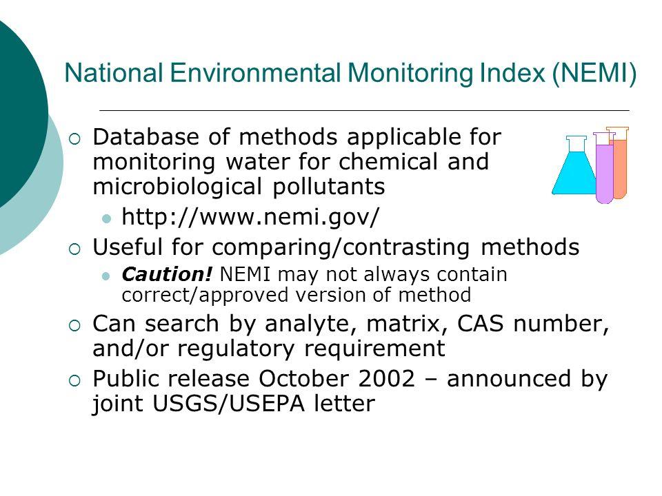National Environmental Monitoring Index (NEMI)