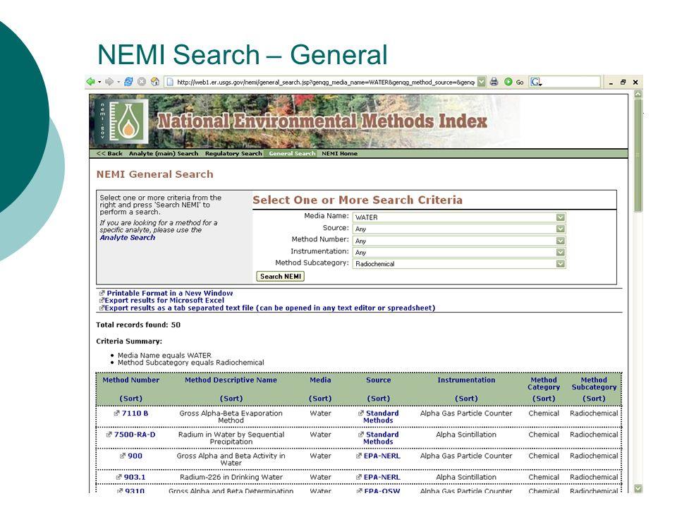 NEMI Search – General
