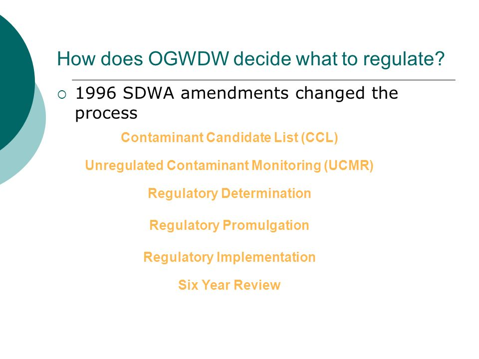 How does OGWDW decide what to regulate