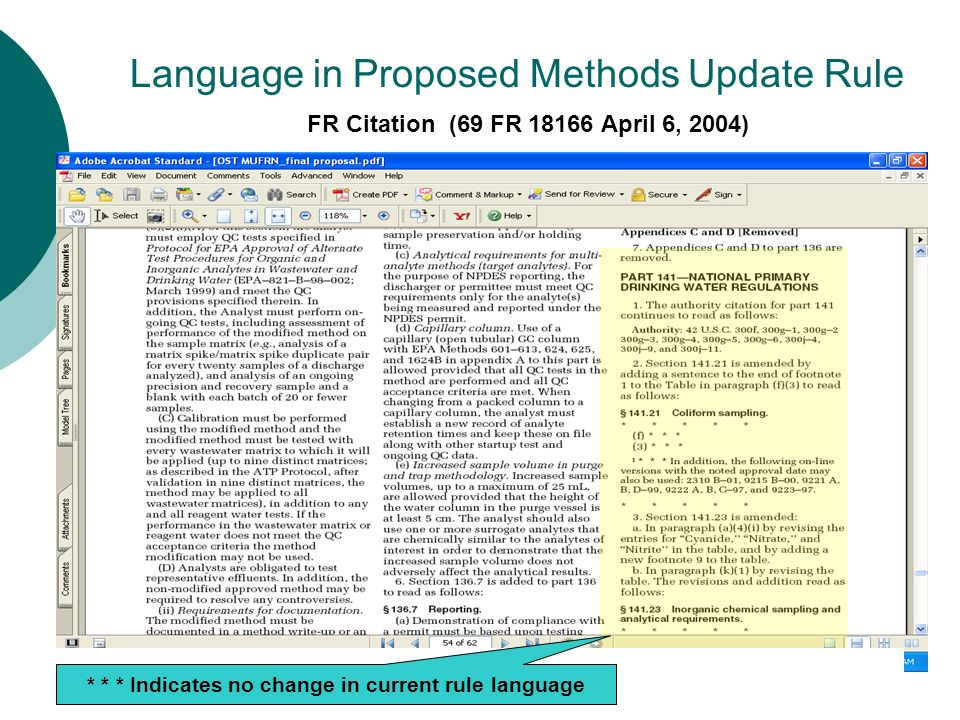 Language in Proposed Methods Update Rule